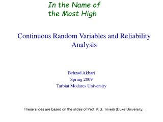 Continuous Random Variables and Reliability Analysis