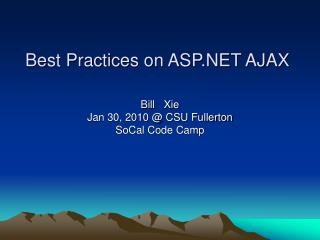 Best Practices on ASP.NET AJAX