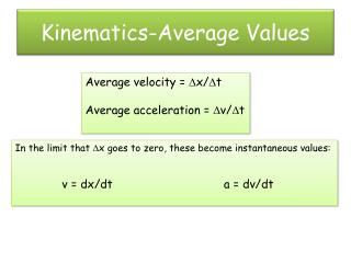 Kinematics-Average Values