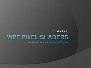 WPF Pixel Shaders