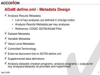 ADaM define.xml - Metadata Design
