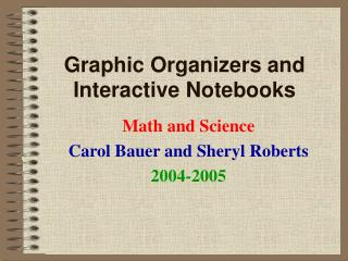 Graphic Organizers and Interactive Notebooks