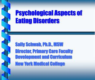 Psychological Aspects of Eating Disorders