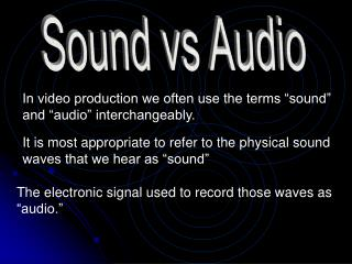 "In video production we often use the terms ""sound"" and ""audio"" interchangeably."