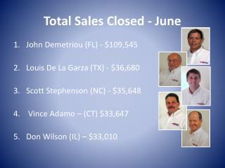 Total Sales Closed - June