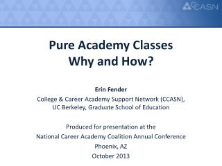 Pure Academy Classes  Why and How?