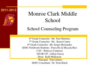Monroe Clark Middle School School Counseling Program