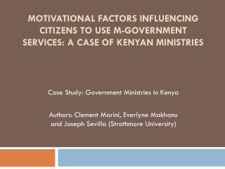 Case Study:  Government Ministries in Kenya
