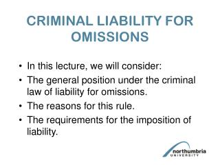 CRIMINAL LIABILITY FOR OMISSIONS