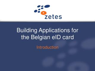 Building Applications for the Belgian eID card