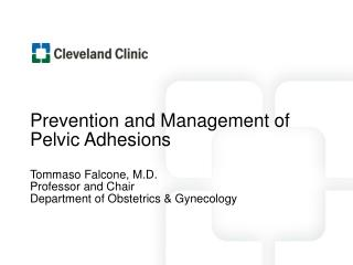 Prevention and Management of Pelvic Adhesions Tommaso Falcone, M.D. Professor and Chair