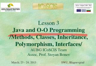 March, 23 - 24, 2013                                  SWU, Blagoevgrad