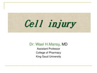 Dr: Wael H.Mansy , MD Assistant Professor College of Pharmacy  King Saud University