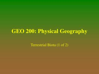 GEO 200: Physical Geography