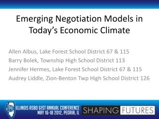 Emerging Negotiation Models in Today's Economic Climate