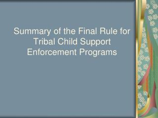 Summary of the Final Rule for Tribal Child Support Enforcement Programs