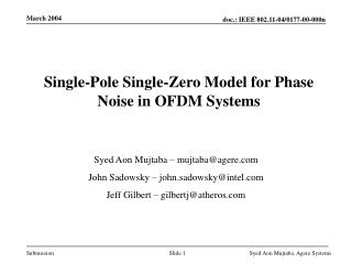 Single-Pole Single-Zero Model for Phase Noise in OFDM Systems