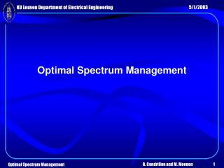 Optimal Spectrum Management
