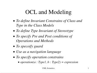 OCL and Modeling