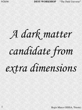 A dark matter candidate from extra dimensions