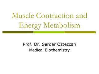 Muscle Contraction and Energy Metabolism