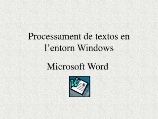 Processament de textos en l'entorn Windows