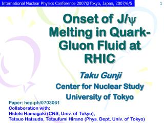 Onset of J/ y  Melting in Quark-Gluon Fluid at RHIC