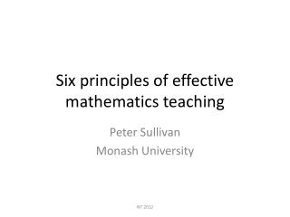 Six principles of effective mathematics teaching