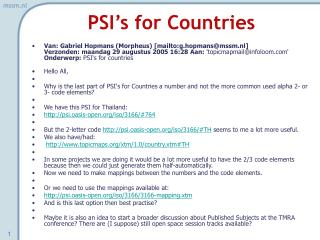 PSI's for Countries