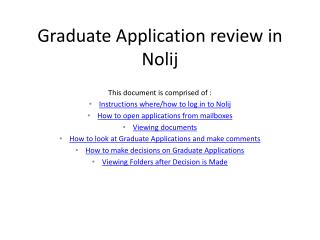 Graduate Application review in Nolij