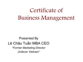 Certificate of  Business Management