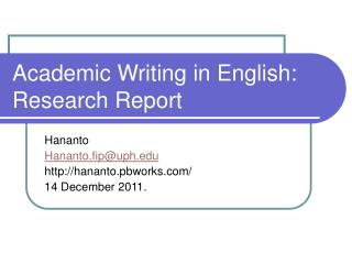Academic Writing in English: Research Report