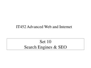 Set 10  Search Engines & SEO