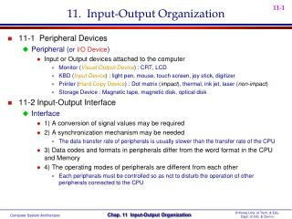 11.   Input-Output Organization