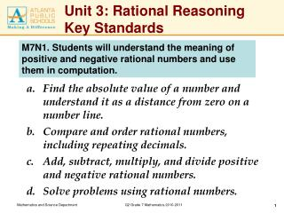 Unit 3: Rational Reasoning Key Standards