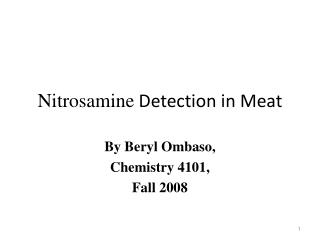 Nitrosamine  Detection in Meat