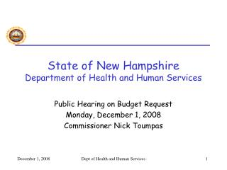 State of New Hampshire Department of Health and Human Services