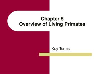 Chapter 5 Overview of Living Primates