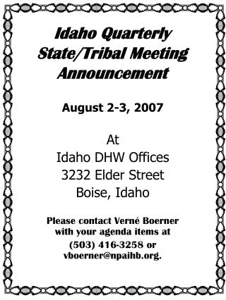 Idaho Quarterly State/Tribal Meeting Announcement
