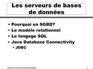 Les serveurs de bases de données