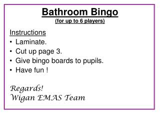 Bathroom Bingo (for up to 6 players)