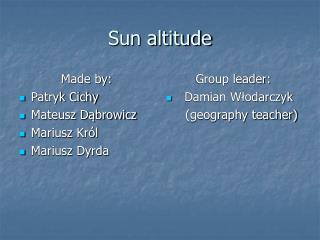 Sun altitude