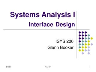Systems Analysis I Interface Design