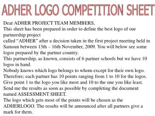 Dear  ADHER  PROJECT TEAM MEMBERS,