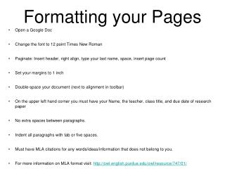 Formatting your Pages