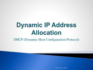 Dynamic IP Address Allocation