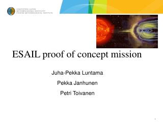 ESAIL proof of concept mission