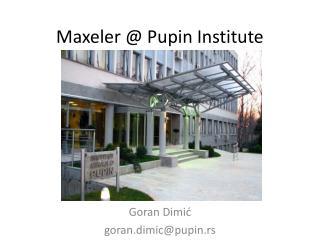 Maxeler @ Pupin Institute