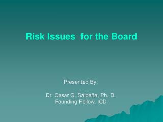 Risk Issues  for the Board
