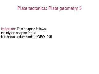 Plate tectonics: Plate geometry 3